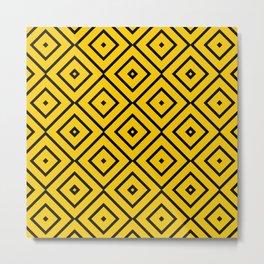 Pattern Abstrait Carreaux Jaune/Noir Metal Print