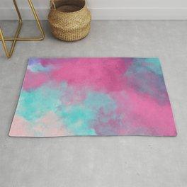Artistic watercolor bright pink teal purple clouds Rug