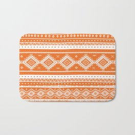 Tribal Aztec Lace Pattern (orange) Bath Mat