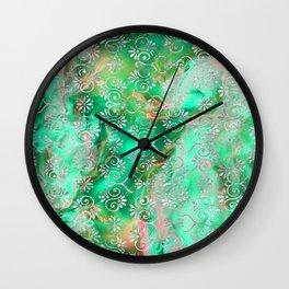 Psicodelic Adventure - Emerald Green Wall Clock