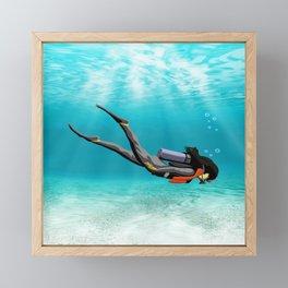 Female S.C.U.B.A. Diver Framed Mini Art Print
