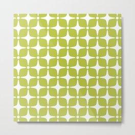Mid Century Modern Star Pattern Chartreuse Green 2 Metal Print