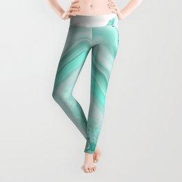 Soft Turquoise Agate Dream #1 #gem #decor #art #society6 Leggings