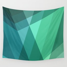 Fig. 046 Mint, Sea Green, Blue & Teal Geometric Wall Tapestry