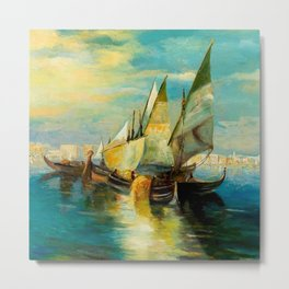 Scene with Sailboats landscape by Robert Rafailovich Falk Metal Print