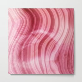 Summer Pink  Mermaid  Marble Metal Print
