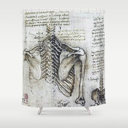 Leonardo Da Vinci human body sketches - skeleton Shower Curtain