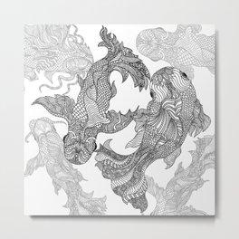 Chasing Tail ~ Koi Metal Print