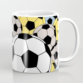 Sports Fan Multi Color Soccer Ball Collage Coffee Mug