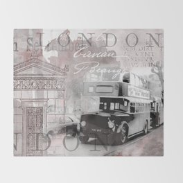 Vintage England London Britain Illustration Pastel Colors Throw Blanket