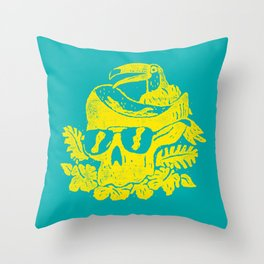 Tropiskull - yellow on teal tropical skull with sunglasses floral and toucan Throw Pillow