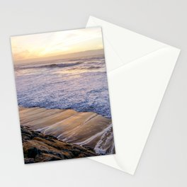 White waves crashing into mossy rocks, with a beautiful autumn sunset. Stationery Cards