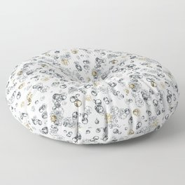 Arabidopsis isolated cells grey-gold on white Floor Pillow