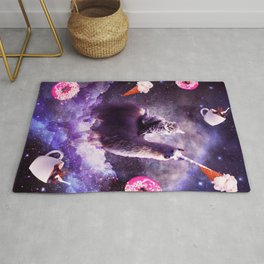 Outer Space Cat Riding Llama Unicorn - Donut Rug