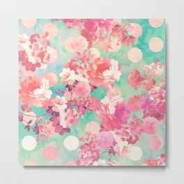 Romantic Pink Retro Floral Pattern Teal Polka Dots Metal Print