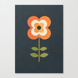 RETRO FLOWER - ORANGE AND CHARCOAL Canvas Print