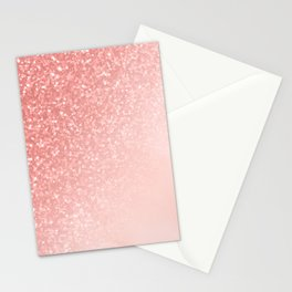 She Sparkles Deep Rose Gold Pastel Pink Luxe Geometric Stationery Cards