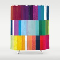 stripes Shower Curtains featuring Stripes by Kakel