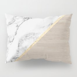 Modern white marble gold stripe wood color block Pillow Sham