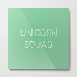 Unicorn Squad - Mint Green and White Metal Print