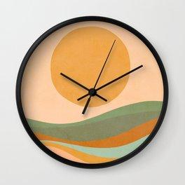 Rainbow Waves Landscape Wall Clock