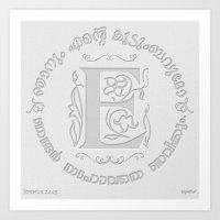 Joshua 24:15 - (Letterpress) Monogram E Art Print