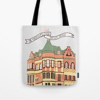 archer Tote Bags featuring Archer Avenue by Nan Lawson