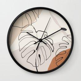 Minimal Abstract Art- Monstera Wall Clock