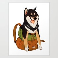 Shibackpack (Black&tan) Art Print