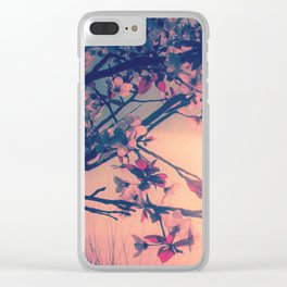 To Love and Be Loved (Spring Pink Cherry Blossoms at Dusk) Clear iPhone Case