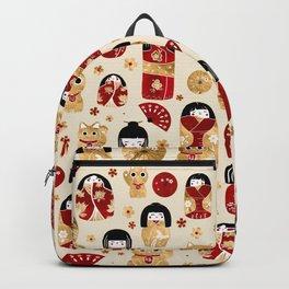Japanese Dolls - Kokeshi and Maneki Neko Cats Backpack