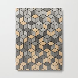Concrete and Wood Cubes Metal Print