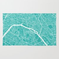 paris map Area & Throw Rugs featuring Paris map turquoise by Maps_art
