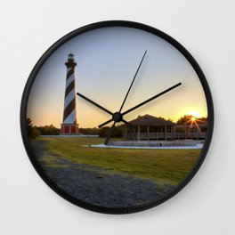 Cape Hatteras Lighthouse at Sunset Wall Clock