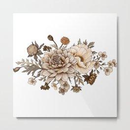 Vintage Flower Bouquet Illustration Metal Print