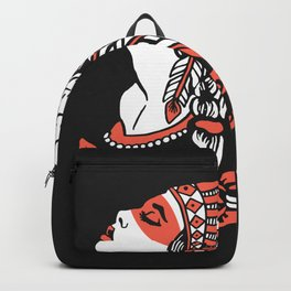 Indian cute lady, Hand drawn illustration of apache indian girl Backpack