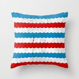 The Sailor - Vintage Nautical Striped Waves RWB Throw Pillow