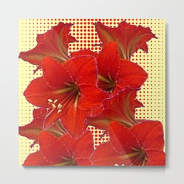 CLUSTER RED AMARYLLIS FLOWERS YELLOW-RED ART Metal Print