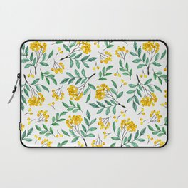 Hand painted yellow green watercolor berries floral pattern Laptop Sleeve