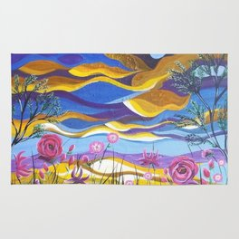 Pretty in Pink, Pink floral landscape, Abstract Landscape Rug
