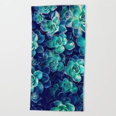 Plants of Blue And Green Beach Towel