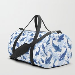 Koi Fish Dance / blue watercolor Duffle Bag