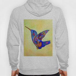 humming bird in color with green-yellow back ground Hoody
