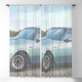 1987 Grand National Regal T-type Turbo in metallic light blue Sheer Curtain