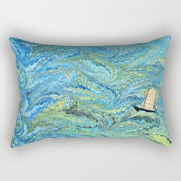 Small Boat on The High Seas Rectangular Pillow