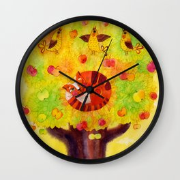 sleeping on the apple tree. original watercolour illustration Wall Clock