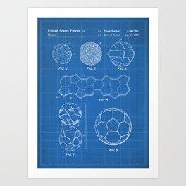Soccer Ball Patent - Football Art - Blueprint Art Print