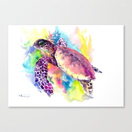 Sea Turtle in Coral Reef, tropical colors sea world purple yellow blue turtle art, turtle illustrati Canvas Print