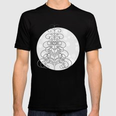 Tree on abstract snow background Black Mens Fitted Tee MEDIUM