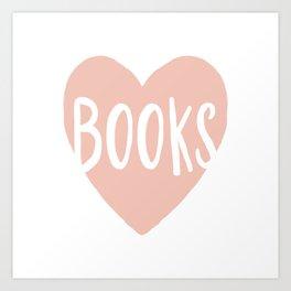Heart Books - hand lettered Art Print